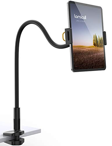 Gooseneck Tablet Holder, Lamicall Tablet Mount - Flexible Arm Clip Tablet Stand Compatible with iPad Mini Pro Air, Galaxy Tabs, Switch, More 4.7-11
