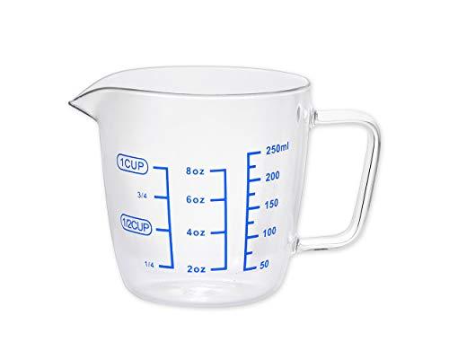 SCSpecial Messbecher Glas 250 ml Messbecher Mehrzweckschale für Flüssigkeit, 1 Tasse