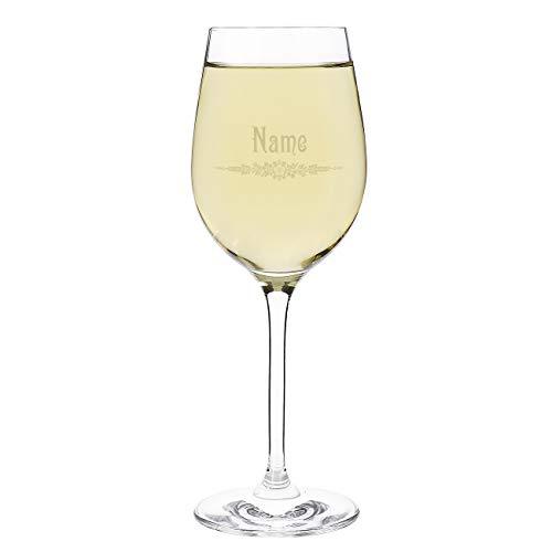 Herz & Heim® Leonardo Weißweinglas mit Gravur - Motive zur Auswahl Jugendstil