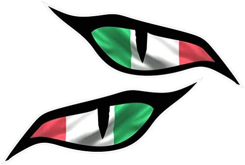 Paar Böse Augen Ösen Aufkleber mit Italien Italienisch Il Tricolore Flagge Vinyl Auto Motorrad Helm Aufkleber Jedem 70x30mm