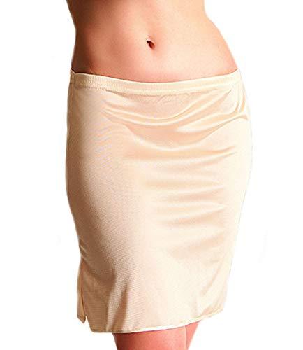Unterrock Damen Kurz Jupon Unterrock Frauen Unterkleid Underskirt Mini Petticoat (38-L,Beige)