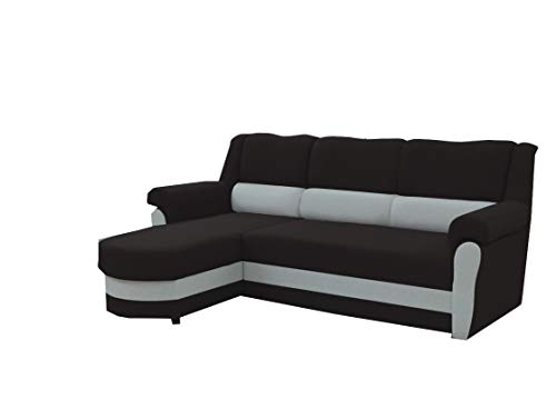 mb-moebel kleines Ecksofa Sofa Eckcouch Couch mit Schlaffunktion und Bettkasten Ottomane L-Form Schlafsofa Bettsofa Polstergarnitur Cannes (Schwarz + Grau,...