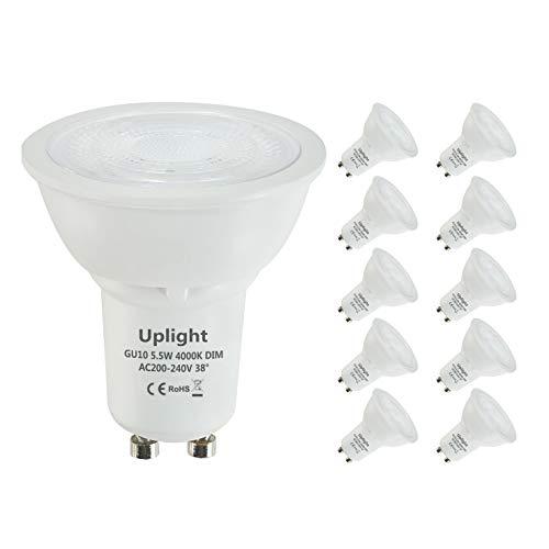 Uplight Dimmable Ampoules LED GU10,5.5W Equivalent 50W Ampoule Halogene,Blanc Naturel 4000K,470LM,RA80 38° Angle de Faisceaux,Lot de 10.