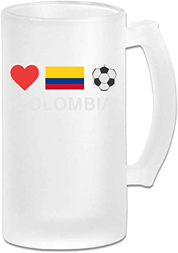 DJNGN Boccale di birra gelido a doppia parete tradizionale Colombia Football Colombia Soccer Freezer Beer Stein con manico 16oz
