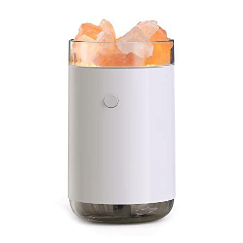 Staright Humidificador de Piedra de Sal de Cristal Humidificador de Niebla de 260 ml de luz Colorida Humidificador de Aceite Esencial USB silencioso portátil Humidificador de Aire de Niebla fría para