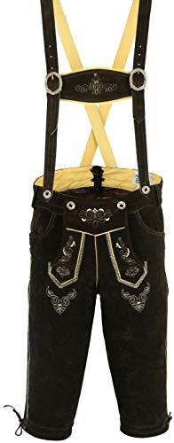Herren Bayerischer Lederhosen mit passende Strapse Rindsleder Leder verschiedene Größen, Hellbraun, Passend für 40 taille