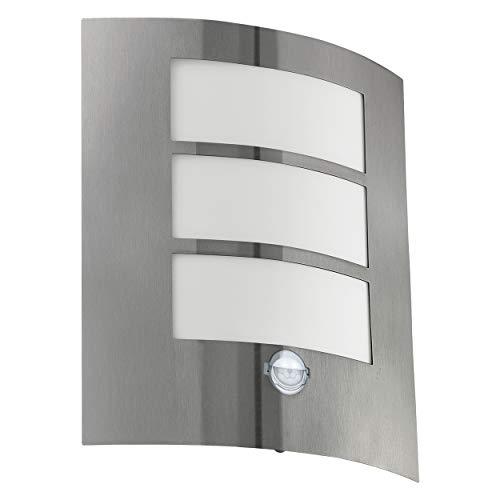 EGLO Außen-Wandlampe City, 1 flammige Außenleuchte inkl. Bewegungsmelder, Sensor-Wandleuchte aus Edelstahl, Kunststoff, Farbe: Silber, weiß, Fassung: E27, IP44