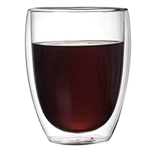 Kaffee- Teegläser Kaffeetasse doppelt hitzebeständiges Glas kreative Teetasse isoliert Tasse kaltes Getränk Milchsaft Tasse Becher (Color : Clear, Size : 8.5 * 11.5cm)