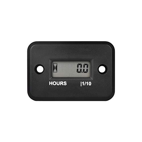 Runleader Digital LCD Waterproof Hour Meter for Small Engine,Track Oil Change Intervals, Generator,Lawn Mower,Outboard,ATV,Snow blowers,Marine,Dirt Ski ,Motorcycle (HM006A-BK)