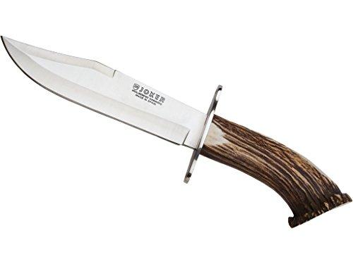 Joker CN100 Messer Bowie 20', Hirschhorngriff, Gürtelmesser mit 20 cm MOVA Stahlklinge, inkl. brauner Lederscheide, Werkzeug zum Angeln, Jagen, Camping und Wandern