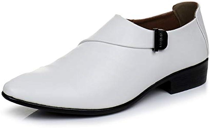 LOVDRAM Chaussures en Cuir pour Hommes Nouveau Business blanc Men Chaussures Habillées Style De Mode Homme en Cuir Chaussures Sociale Sapato Male Oxfords Flats Chaussure De Mariage