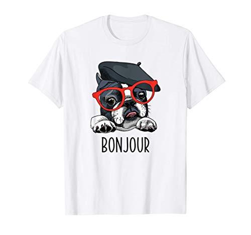 French Bulldog Gifts Men Women Frenchie Dog Glasses Bonjour T-Shirt