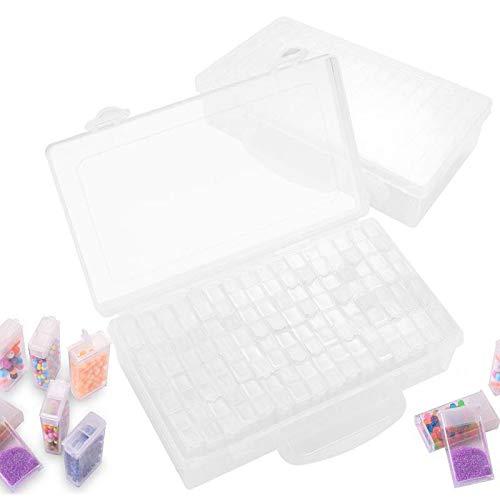 Herefun 64 Compartimento Plástico, Caja de Diamante de Pitura de Herramiente Transparente Almacenamiento, Rejillas Mini Caja de Bordado Almacenamiento de Cuentas