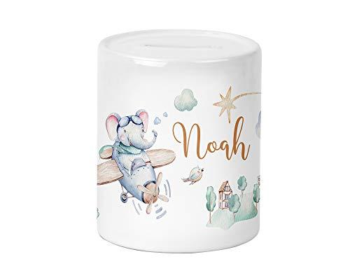 Flugzeug Elefant Kinder-Spardose für Jungen und Mädchen mit Namen personalisiert zur Einschulung Taufe Geburtstag Geburt Sparschwein Geldgeschenk