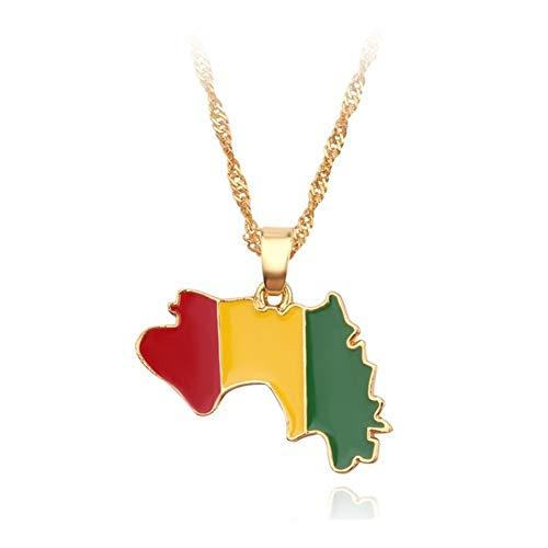 Accesorios Collar Colgante de joyería de Las Mujeres de los Hombres de Color de Plata Mapas africanos artículo Regalo (Color : 40cm, Size : XL1837)