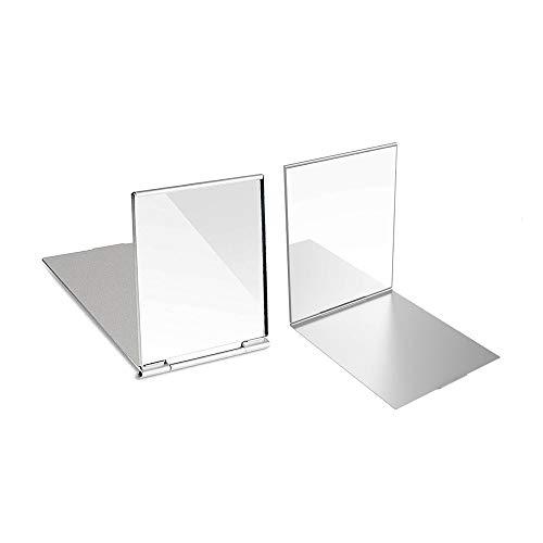 2 Piezas Portátil Plegable Espejo Cosmético Espejo de Bolsillo Compacto Little Travel Mirror Espejo Plegable Portátil Espejo de Maquillaje Compacto Espejo Plegable para Maquillaje (Plata)