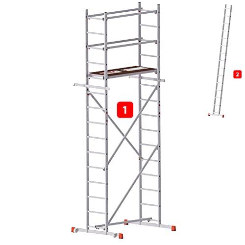 ALTEC AluCombine® 500   Alu Leiterngerüst   5m Arbeitshöhe, 2 in 1 Gerüst & Leiter   Made in Germany   EN 131   Gerüst   Arbeitsgerüst   Baugerüst   Fahrgerüst   Anlegeleiter