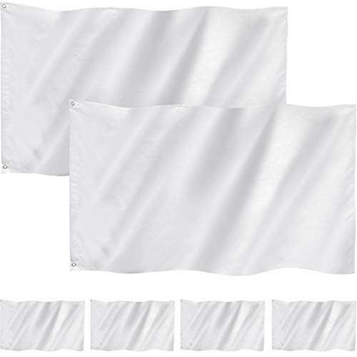 6 Pieces 3 x 5 Feet Plain White Flag Pure Color DIY Flags Polyester Double Stitched Blank Flags Banner with Grommets for DIY Garden Backyard Playground Decoration