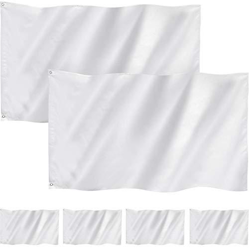 6 Packungen 3 x 5 Fuß Feste Weiße Flagge Weiße Fahne Polyester Doppelt Genähte Leere Flaggen Banner mit Ösen für DIY Garten Hinterhof Spielplatz Dekoration