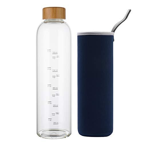 Botella de Agua Cristal 1 Litro con Marcador de Tiempo Funda y Tapa de Bambú Reutilizable para Deportes, Gimnasio, viajes, sin Bpa (Azul Marino)
