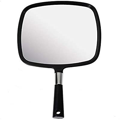 """Mirrorvana Large & Comfortable Hand Held Mirror with Handle - Barber Model in Black - 9"""" x 13"""""""