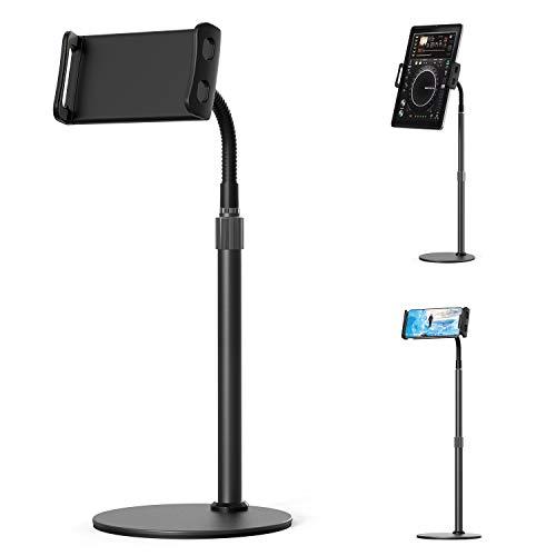 MiiKARE Support Tablette Téléphone Réglable avec 360° Rotation col de Cygne, Support Tablette Lit avec Clamp Réglable, Tablettes Bureau Holder pour iPad/iPhone/Samsung/Huawei,etc(4.7-12.9 Pouces)-Noir