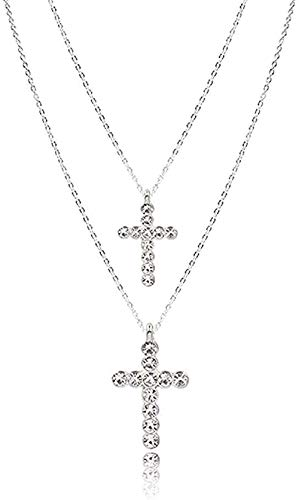 NC110 Necklace Layered Necklace for Women Silver Color Chain Clear Glass Stone Cross Pendant Necklace Wedding Party Pendant Necklace Gift for Women Men Girls Boys