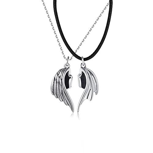 Collar 2pcs Collar de pareja magnético Amor infinito Emparejado Ángel Demonio Collares pendientes Cadena de cuero Regalos de amistad para mujeres Hombres