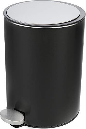 Bamodi Mülleimer Bad Edelstahl 3L - stylisher Kosmetikeimer mit Absenkautomatik für Dein Badezimmer - (matt schwarz)