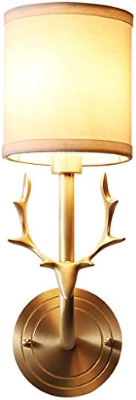 Retro Ganze Kupfer Wandleuchte Kreative Hirschkopf Dekorative Nachttischlampe Moderne Luxurise Wandleuchte Leuchte Für Wohnzimmer Esszimmer Badezimmer Korridor Eingang (Farbe   A)
