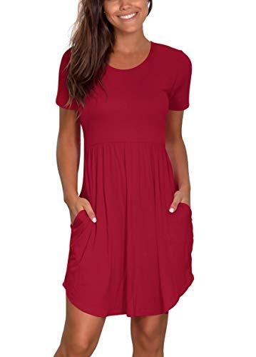 Atizon Women's Summer Casual Flared Midi Dress Pleated T Shirt Sundress Swimsuit Cover ups with Pockets Burgundy