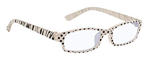4sold Slim Damen Herren Lesebrille +0.50 +0.75 +1.0 +1.5 +2.0 +2.5 Blaufilterbrille Blaues Licht und UV Schutzbrille Bildschirmbrille fortgeschrittene Gamer Gamingbrille Computerbrille (Zebra, 1.50)