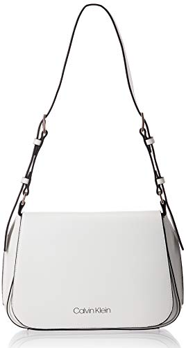 Calvin Klein Punched SML Satchel, Bolso de Hombro para Mujer, Blanco (White), 0.1x0.1x0.1 centimeters (W x H x L)