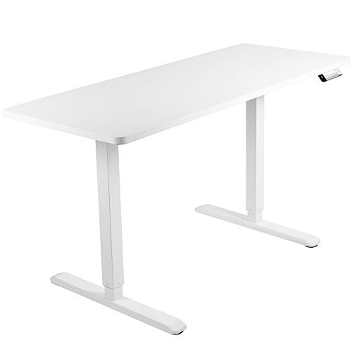 VIVO Electric Height Adjustable 60 x 24 inch Stand Up Desk, White Solid One-Piece Table Top, White Frame, Standing Workstation with Memory Preset Controller, DESK-KIT-1W6W