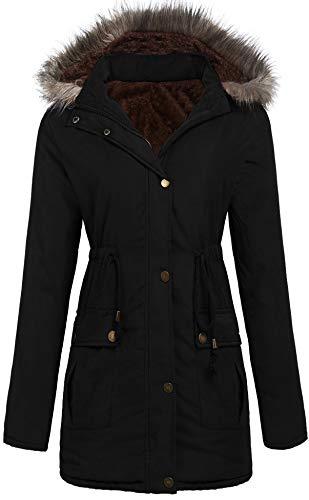 SoTeer Parka Jacket Women Warm Winter Coat with Hood Faux Fur Lined Outwear Jacket (Black, XL)