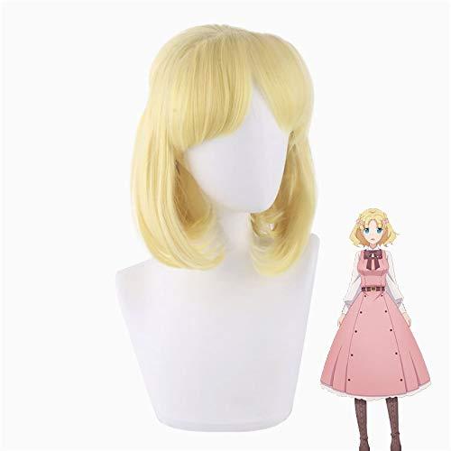 Mi próxima vida como villana: ¡todas las rutas conducen a la perdición!Maria Campbell Golden Short Curl Anime disfraz Cosplay peluca + gorra de peluca gratis
