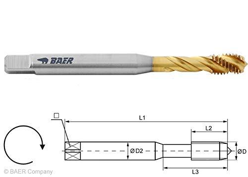 HSSE-TIN Maschinengewindebohrer Form C 35° RSP - M 8 x 1,25 - DIN 371 Gewindeschneider M8 Gewindebohrer mit TIN-Beschichtung