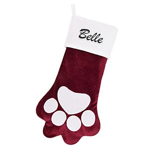 Yu Liao Calcetín navideño Personalizado para Mascotas, Perros y Gatos, calcetín con Forma de Pata, Nombre Personalizado Bordado, Tela Escocesa roja de Terciopelo Blanco Suave
