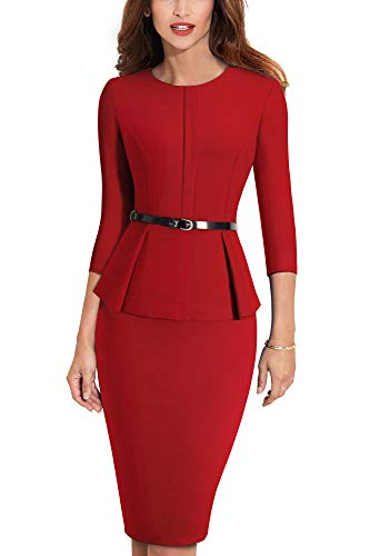 HOMEYEE Negocio Vestido de Mujer Cuello Redondo Peplo Cinturón B473 (EU 36 = Size S, Rojo)