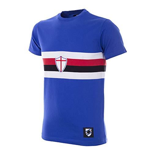 Copa Camiseta Retro de fútbol con Cuello Redondo para Hombre de U. C. Sampdoria, Hombre, Camiseta de Cuello Redondo Retro de fútbol, 6782, Azul, M