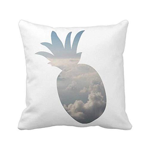 Funda cuadrada de almohada con diseño de nubes blancas y cielo gris