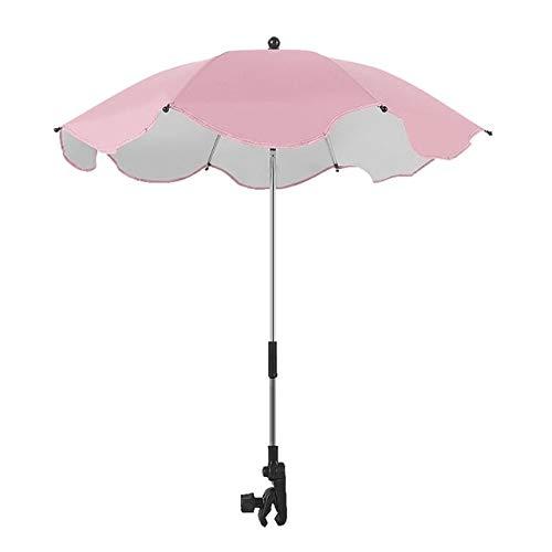 Poussette réglable Parapluie Pluie UV Protection Poussette Landau Parasol Parasol avec Clip Universel Rose