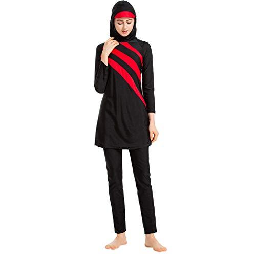 Xmansky Muslimischen Damen Bademode,Sommer Beachwear Swimwear Burkini Watersport,|1PC Badekappe + 1PC Badeanzug + 1 PC Schwarz Lange Badehose