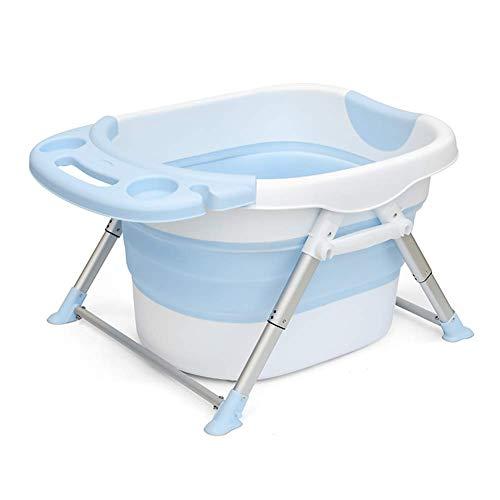 Guotail Plegable bebé bañera-portátil Infantil Antideslizante bañera de Viaje bañera de Aislamiento Grueso Lavabo de Ducha/Asientos de baño,Blue
