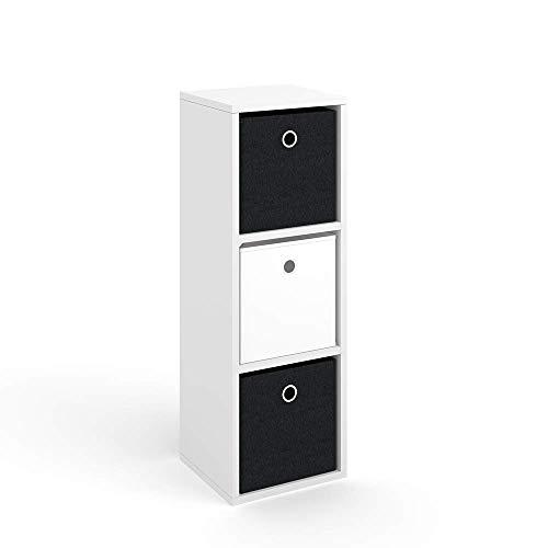 Vicco Raumteiler HYLDA inkl. Faltboxen Weiß Standregal Regal Bücherregal Büroregal (3 Fächer)