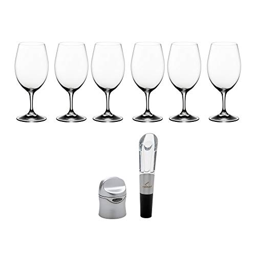 Riedel Ouverture Magnum Wine Glasses Set of 6 Bundle with Wine Sealer and Aerator Set (4 Items)