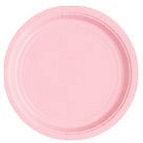 WG Platos de papel redondos de 7 pulgadas en una selección de 17 colores impresionantes, 6 paquetes de platos brillantes (rosa bebé)