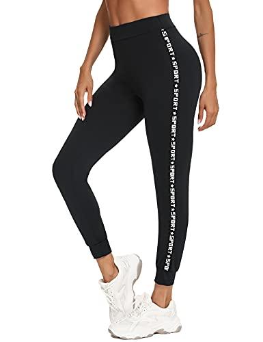 Sykooria Leggins Deportivos Mujer, Leggings Push Up Mujer Mallas Pantalones Deportivos con Letras de Cintura Alta Mallas de Deporte Mujer para Yoga Running Training Estiramiento Fitness