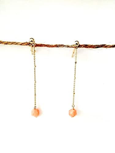 Pendientes largos coral piedra semipreciosa con cadena dorada - Oro dorada - cristal Rosa - Regalo - Para mujer