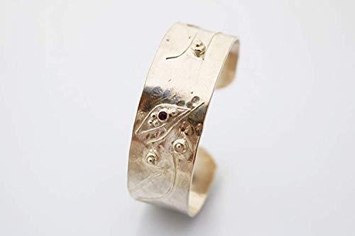 Breiter Silber 925 Armreif mit Granat - Unikat - Handgemacht
